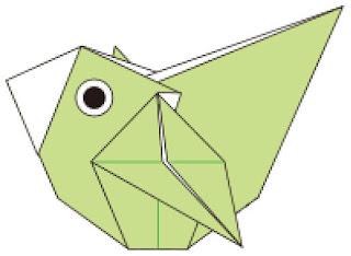 Bước 14: Hoàn thành gấp con chim bằng giấy origami