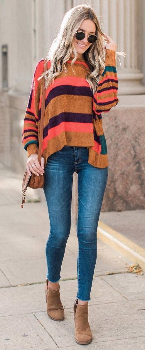 fall outfit inspiration / stripped sweater + bag + skinny jeans + boots
