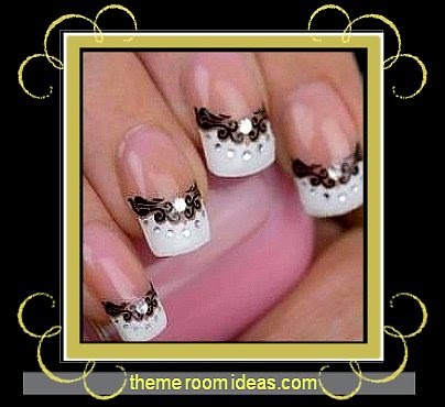 3D Transfer Lace Design Nail Art Sticker Nail Decal - party nails