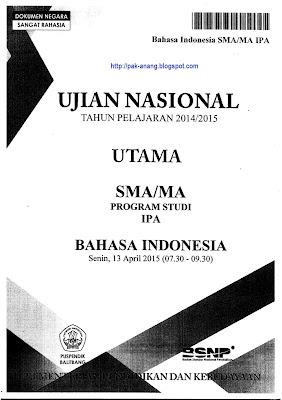 Naskah Soal Un Bahasa Indonesia Sma 2015 Paket 1