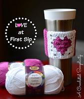 http://www.acrochetedsimplicity.com/free-crochet-pattern-love-at-first-sip-coffee-sleeve/