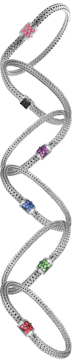 John Hardy Classic Chain 5mm Extra-Small Braided Silver Bracelets Assorted Colors