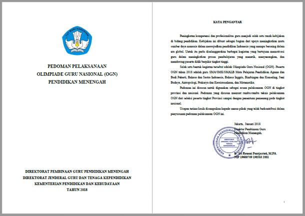 Pedoman dan Jadwal Olimpiade Guru Nasional (OGN) Pendidikan Menengah Tahun 2018