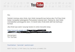 Tim Google Membatalkan Penangguhan Akun Youtube