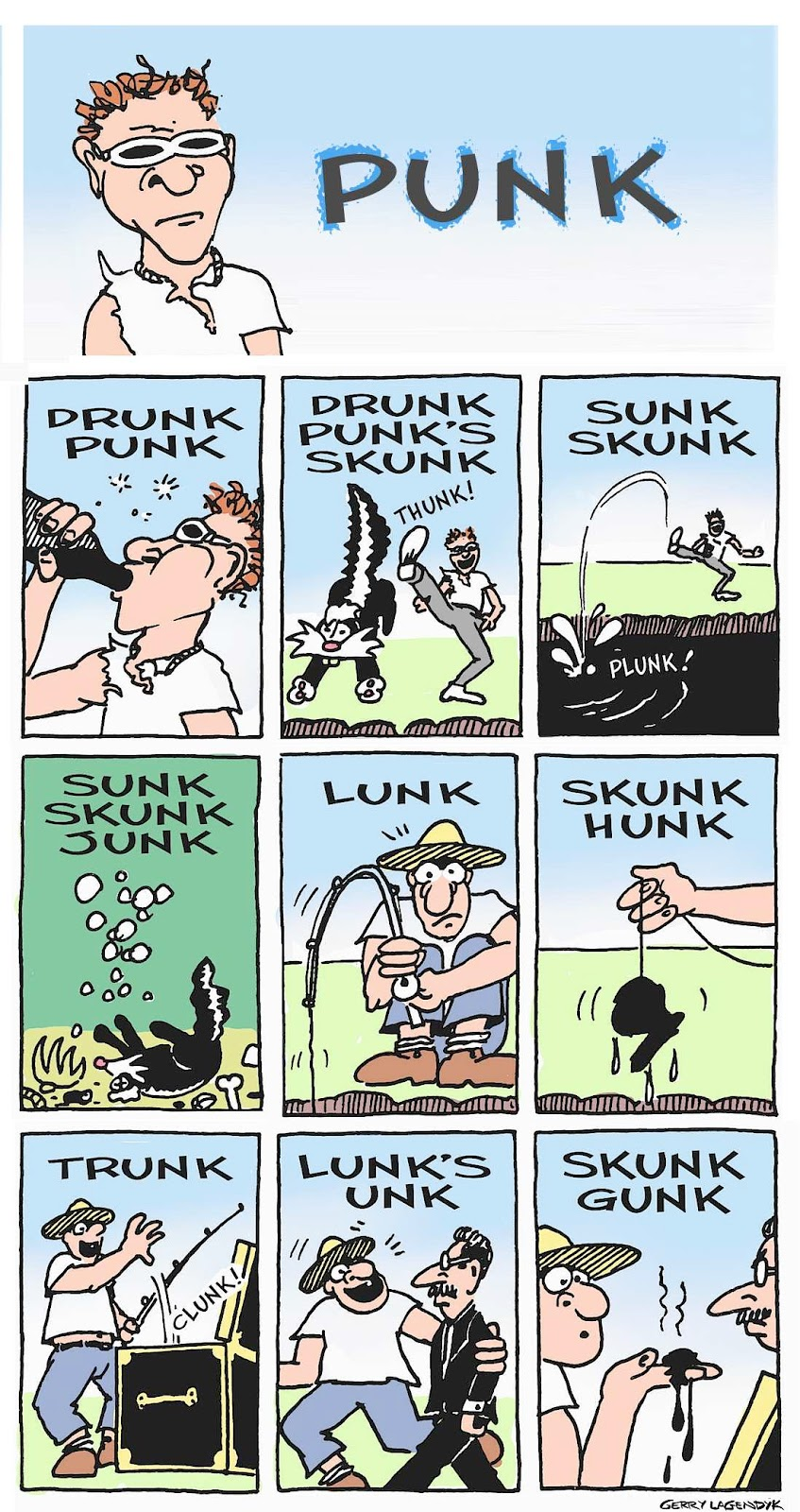 Drunk Punk's Skunk, cartoon by Gerry Lagendyk