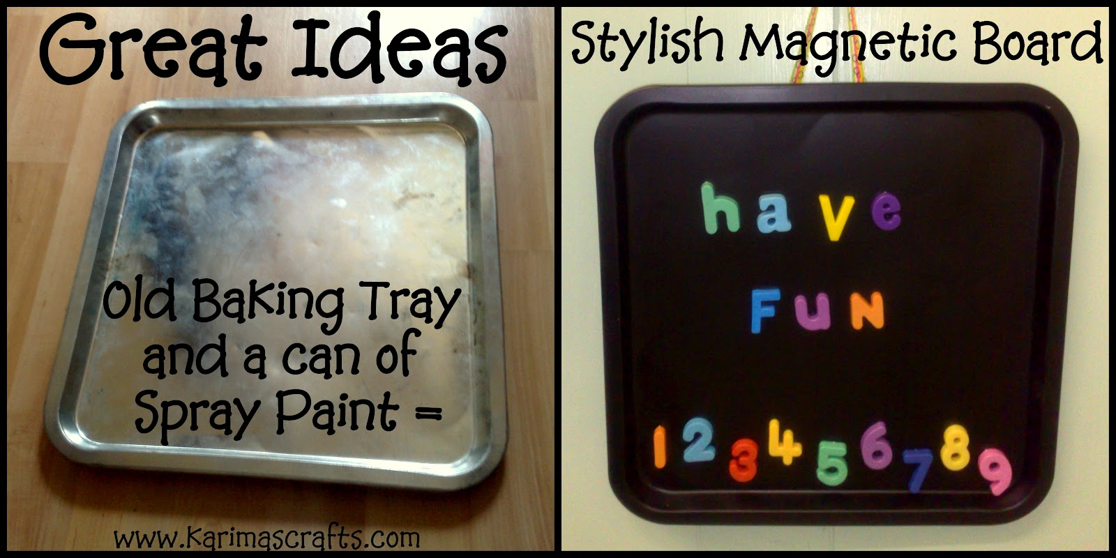 karima s crafts great ideas magnetic board from a baking tray
