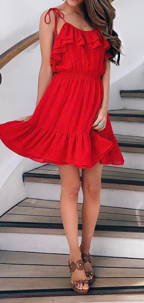 stylish summer ootd: red dress + sandals