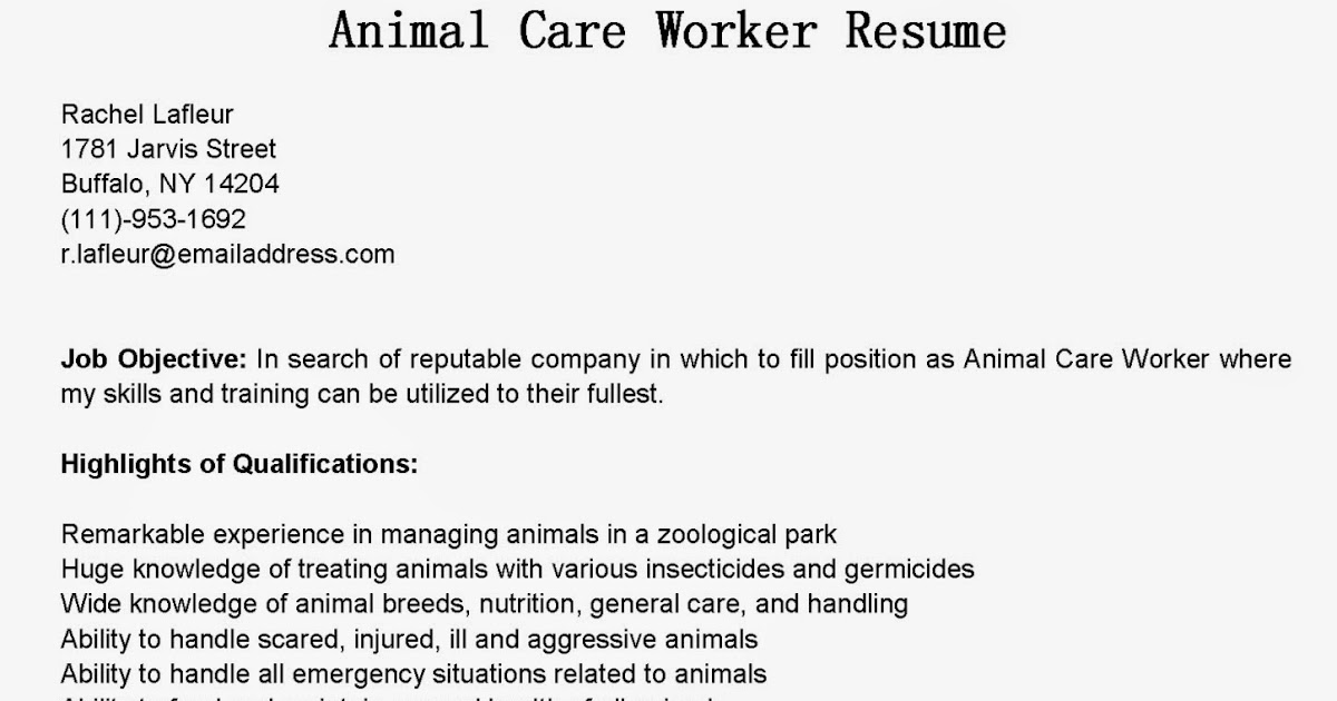 Animal care worker cover letter for Cover letter for working with animals