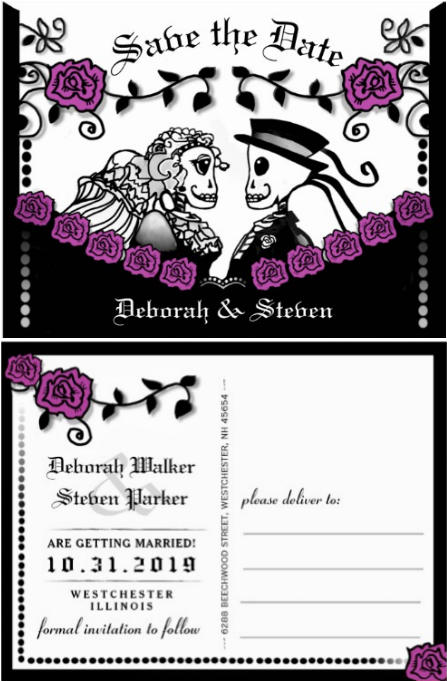 Fun gothic save the date bride & groom skeletons postcard with roses