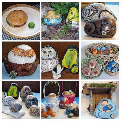 painted rocks, critters, food, nativity sets, garden, Cindy Thomas, rock painting