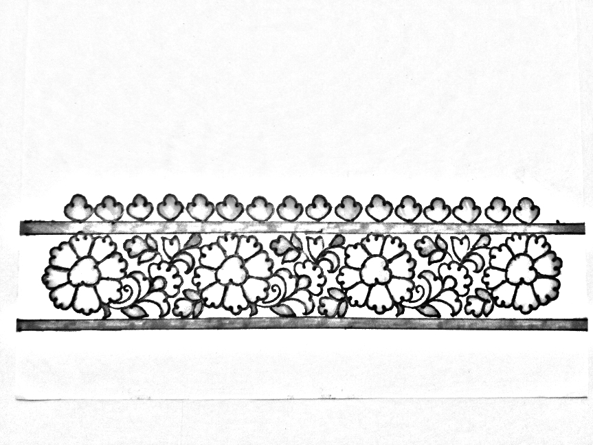Draw Online Embroidery Saree Border Drawingsaree Border Designs Sketch