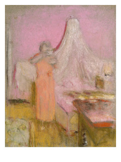 pink art for salon wall, La tasse de thé du matin, Vuillard
