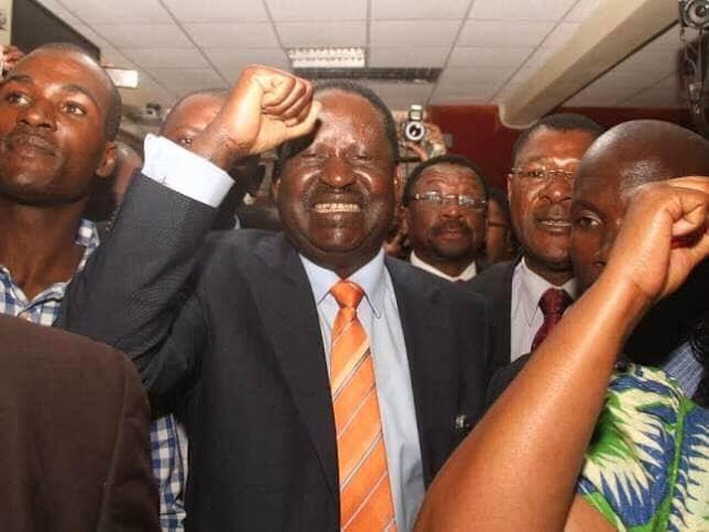 Raila Odinga and NASA after winning the Uhuru re-election case. PHOTO | FILE