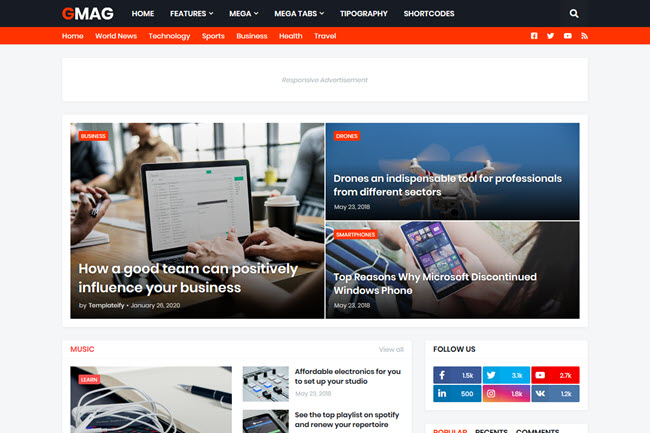 [Free Download] GMag - Responsive Magazine Blogger Template