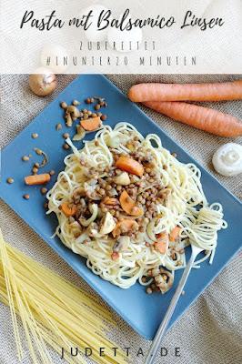 Schnelle Spaghetti mit Linsen, Möhren und Champignons, #mealprep #mealprepideas #vorkochen | judetta.de