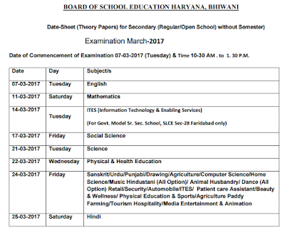 HBSE 10th Regular Time Table 2017