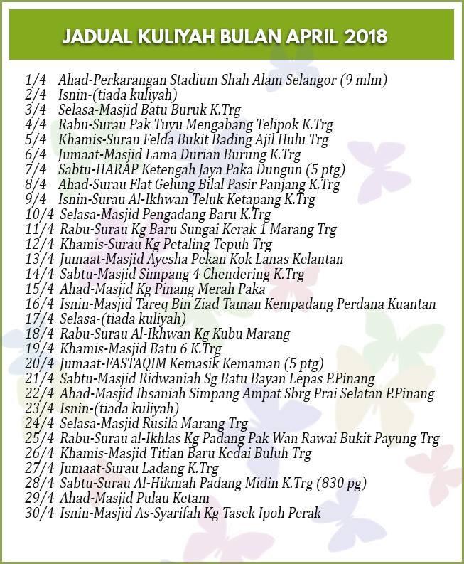 jadual kuliah ustaz azhar idrus april 2018