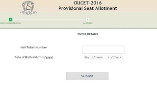 OUCET 2016 Provisional allotment-list