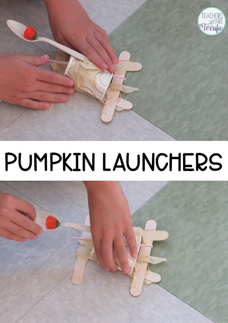 STEM Challenge: Build a Pumpkin Launcher! The idea with this one is to build a lunching device using some pretty wonky materials and then, of course, send a pumpkin soaring. Check this blog post for more!