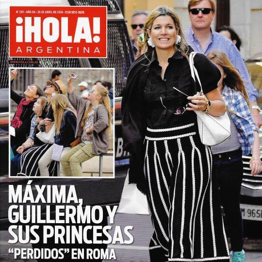 Queen Maxima, King Willem, Crown Princess Amalia, Princess Alexia, Princess Ariane visit Rome. Queen Maxima wore Maje Jamais Skirt