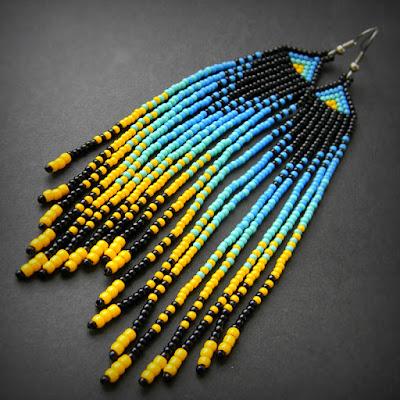 купить необычные красивые серьги сережки из бисера длинные  в этно стиле