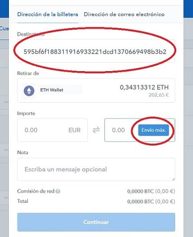 Enviar ethereum desde coinbase a binance