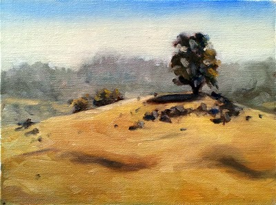Oil painting of dry landscape featuring a lone eucalypt on a hill with a rocky outcrop.