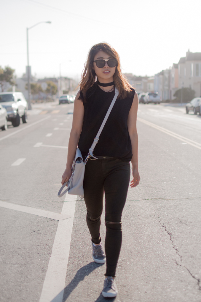 Casual Outer sunset Everlane Muscle Tee Ripped RTA Prince Jeans Choker Outfit Phillip Lim Pashli