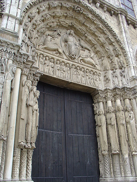 Sculptures of the Last Judgment decorate the Royal Portal or western main entrance of the Chartres Cathedral.