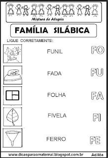 Famílias silábicas alfabetização letra F