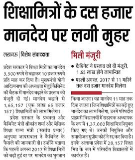 Shiksha Mitra Salary News in Hindi Latest News