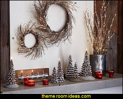 Lighted Icy Wreaths & Branches  Rustic Christmas decorating ideas - rustic Christmas decorations - Vintage - Rustic - Country style Christmas decorating - rustic Christmas decor - Christmas stockings