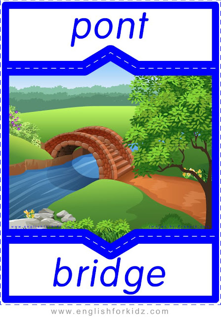 bridge in French, pont en anglais, English-French places and geography flashcards