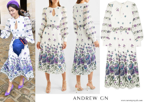 Princess Alessandra wore ANDREW GN Lace-trimmed printed silk-blend midi dress