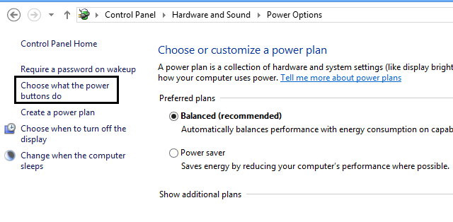 windows 8 power option