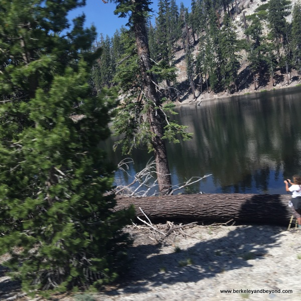 Starkweather Lake shuttle stop at Devils Postpile National Monument in Mammoth Lakes, California
