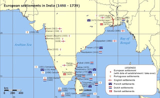 European settlements in India between 1498 - 1739