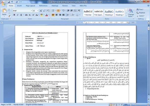 Perangkat Pembelajaran Bahasa Arab Kelas 12 SMA MA K13 Revisi 2018
