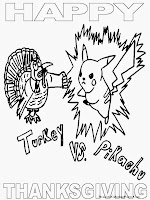 Pikachu Happy Thanksgiving Coloring Pages