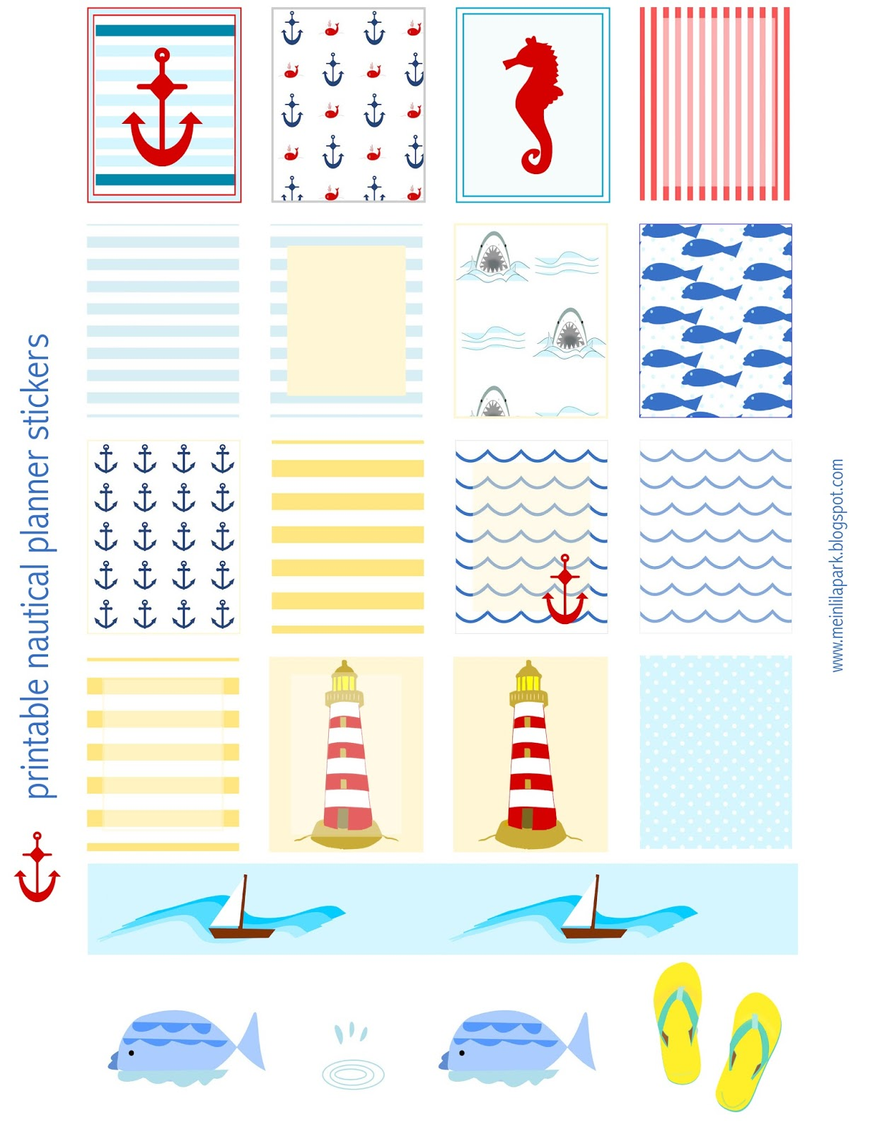Free Printable Nautical Planner Stickers