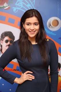 Actress Mannara Chopra Stills in Blue Short Dress at Rogue Song Launch at Radio City 91.1 FM  0009.jpg