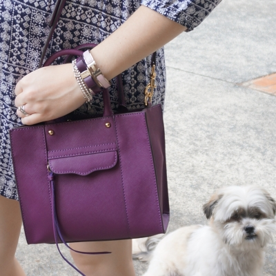 AwayFromTheBlue | Rebecca Minkoff mini MAB tote in plum purple closeup of Cooper adopted Shih Tzu