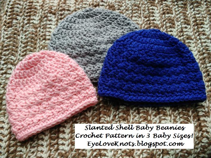 Eyeloveknots slanted shell baby beanies 3 sizes free crochet slanted shell baby beanies 3 sizes free crochet pattern dt1010fo