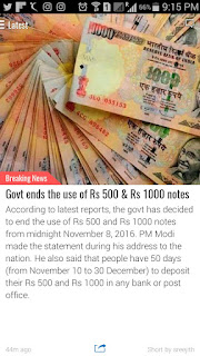 Govt ends 500 and 1000 rs notes from 8 nov 2016 midnight