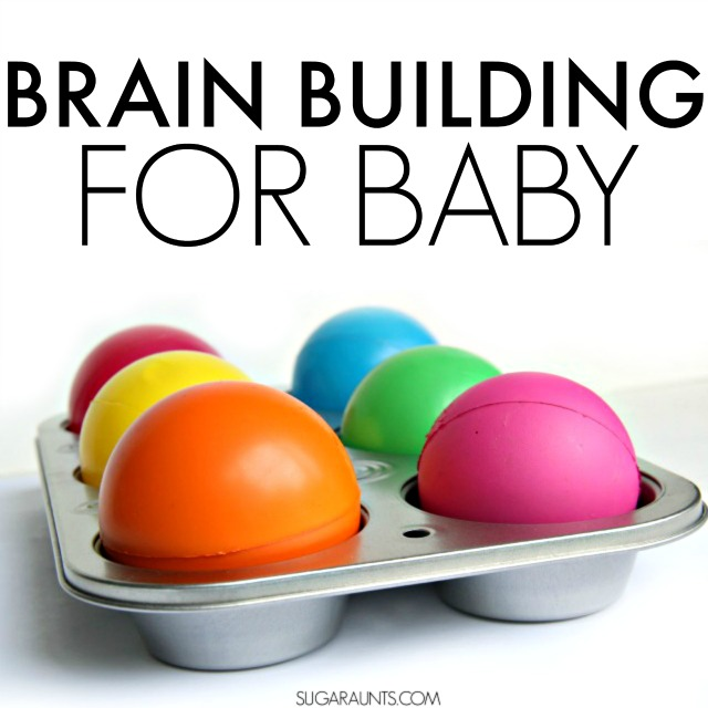 Baby and Toddler Brain Building activity using balls and a muffin tin. Perfect for developing fine motor skills, visual perceptual skills in an active activity for sitting and mobile babies.
