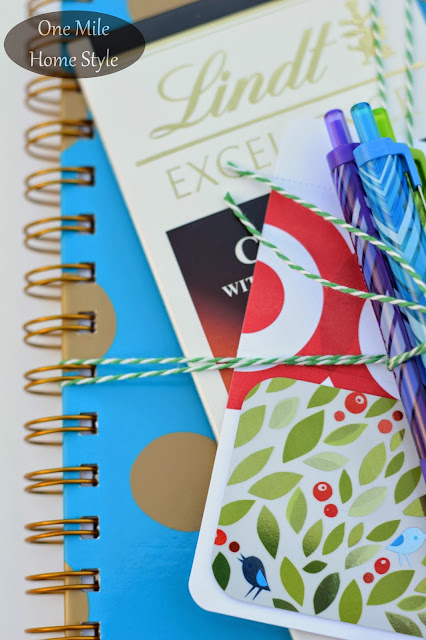 Wrap Up an A+ Teacher Appreciation Gift | One Mile Home Style - journal and gift card