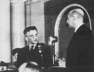 Moscow Trial June 1945 Trial of the 16 - Okulicki defending himself in Russian court