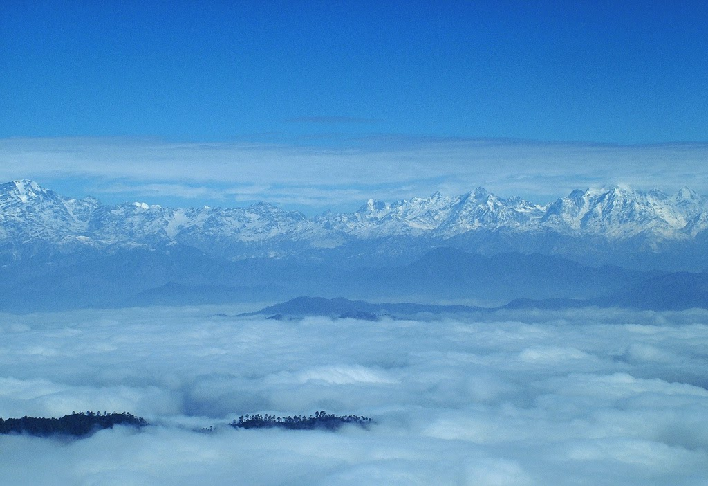 Binsar, A view of Kumaon Himalayas from Zero Point