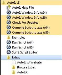 AutoIt Start menu options from a Windows 7 64 Bit PC