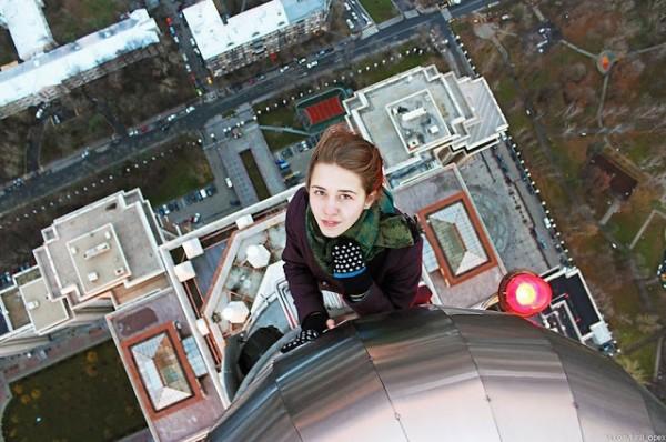 Russian Girl Angela takes The dangerous selfies